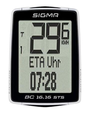 Sigma Sport Fahrrad Computer BC 16.16 STS CAD, 16 Funktionen, Ankunftsanzeige, Kabelloser Fahrradtacho, Schwarz - 1