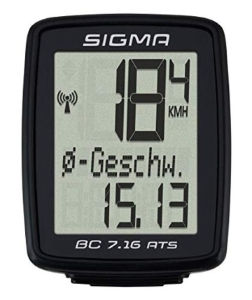 SIGMA SPORT Fahrrad Computer BC 7.16 ATS, 7 Funktionen, großes Display, kabelloser Fahrradtacho, wasserdicht, schwarz - 1