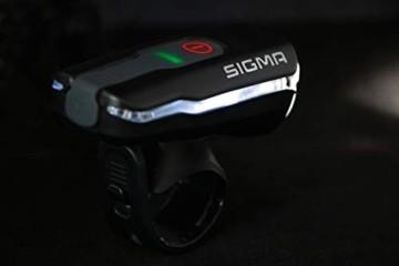 SIGMA SPORT Fahrradbeleuchtung AURA 60 USB, 60 LUX, Frontlicht, StVZO zugelassen, wasserdicht, USB wiederaufladbar, 3 Leuchtmodi - 3