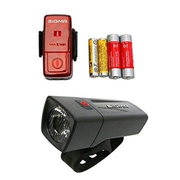 Sigma Sport LED Batterie Fahrradbeleuchtung AURA 25 / CUBIC Set 25 LUX / 400 m Sichtbarkeit batteriebetriebene Fahrradlampe + Rücklicht StVZO zugelassen Schwarz - 1