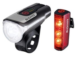 SIGMA SPORT - LED Fahrradlicht Set Aura 80 und BLAZE | StVZO zugelassenes, akkubetriebenes Vorderlicht und Rücklicht mit Bremsfunktion - 1