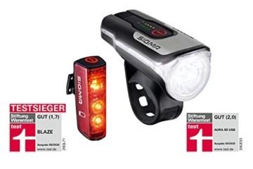 SIGMA SPORT - LED Fahrradlicht Set Aura 80 und BLAZE | StVZO zugelassenes, akkubetriebenes Vorderlicht und Rücklicht mit Bremsfunktion - 5