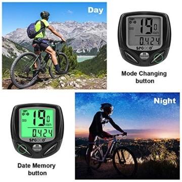 SPGOOD Fahrradcomputer Kabellos IP54 wasserdichte 16 Funktionen fahrradcomputer Wireless Bike Wireless Computer LCD Geschwindigkeit Fahrradtacho drahtlos Radcomputer Tacho Schwarz - 5