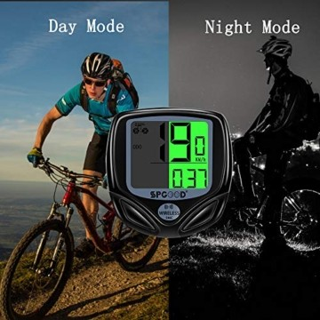 SPGOOD Fahrradcomputer Kabellos IP54 wasserdichte 16 Funktionen fahrradcomputer Wireless LCD Geschwindigkeit Fahrradtacho drahtlos Radcomputer Tacho Schwarz - 6