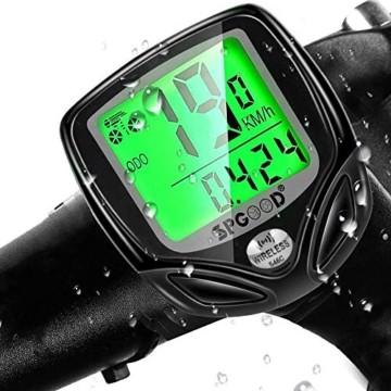 SPGOOD Fahrradcomputer Kabellos IP54 wasserdichte 16 Funktionen fahrradcomputer Wireless Bike Wireless Computer LCD Geschwindigkeit Fahrradtacho drahtlos Radcomputer Tacho Schwarz - 1