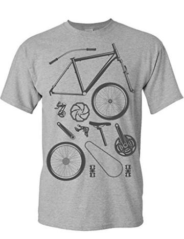 T-Shirt: Bike Parts - Fahrrad Geschenke für Damen & Herren - Radfahrer - Mountain-Bike - MTB - BMX - Fixie - Rennrad - Tour - Outdoor - Sport - Urban - Motiv - Spruch - Fun - Lustig, Grau Meliert, L - 3