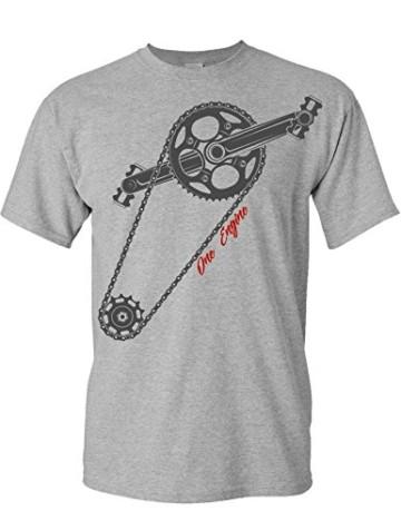 T-Shirt: One Engine - Fahrrad Geschenke für Damen & Herren - Radfahrer - Mountain-Bike - MTB - BMX - Fixie - Rennrad - Tour - Outdoor - Sport - Urban - Motiv - Spruch - Fun - Lustig, M, Grau Meliert - 1