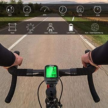 toptrek Fahrradcomputer Kabellos 13 Funktionen Fahrradtacho IPX7 wasserdichte Radcomputer LCD-Hintergrundbeleuchtung Kilometerzähler für Radsport Realtime Speed Track - 3