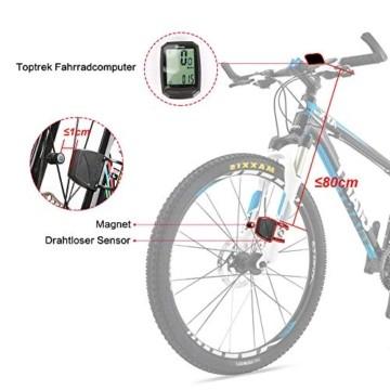 toptrek Fahrradcomputer Kabellos 13 Funktionen Fahrradtacho IPX7 wasserdichte Radcomputer LCD-Hintergrundbeleuchtung Kilometerzähler für Radsport Realtime Speed Track - 4