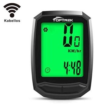toptrek Fahrradcomputer Kabellos 13 Funktionen Fahrradtacho IPX7 wasserdichte Radcomputer LCD-Hintergrundbeleuchtung Kilometerzähler für Radsport Realtime Speed Track - 1