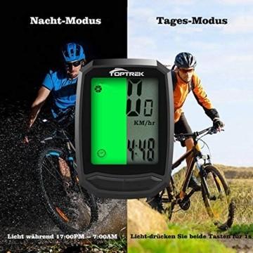 toptrek Fahrradcomputer Kabellos 13 Funktionen Fahrradtacho IPX7 wasserdichte Radcomputer LCD-Hintergrundbeleuchtung Kilometerzähler für Radsport Realtime Speed Track - 5