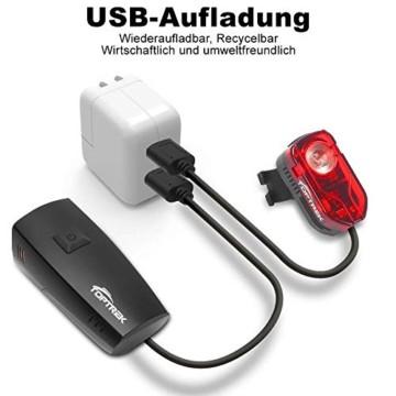 toptrek Fahrradlicht Set StVZO Zugelassen OSRAM LED Fahrradbeleuchtung USB Aufladbare Akku Fahrradlampe Vorne & Hinten IPX5 Wasserdicht Fahrrad Lichter mit Rücklicht (LF16 Li-Ion) - 2