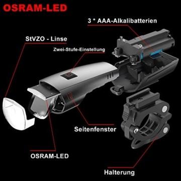 toptrek Fahrradlicht Set StVZO Zugelassen OSRAM LED Fahrradbeleuchtung USB Aufladbare Akku Fahrradlampe Vorne & Hinten IPX5 Wasserdicht Fahrrad Lichter mit Rücklicht (LF16 Li-Ion) - 5