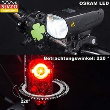 toptrek Fahrradlicht Set StVZO Zugelassen OSRAM LED Fahrradbeleuchtung USB Aufladbare Akku Fahrradlampe Vorne & Hinten IPX5 Wasserdicht Fahrrad Lichter mit Rücklicht (LF16 Li-Ion) - 6