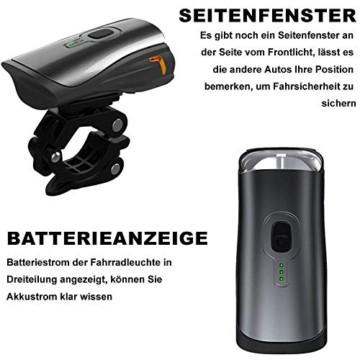 Toptrek Fahrradlicht StVZO Zugelassen, LED Fahrradbeleuchtung Set akku USB Wiederaufladbare OSRAM LED-Licht, umschaltbar zwischen 50/30 Lux, Frontlicht & Rücklicht IPX4 Wasserdicht Fahrradlampe (LF12) - 2