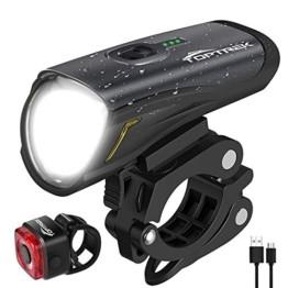 Toptrek Fahrradlicht StVZO Zugelassen, LED Fahrradbeleuchtung Set akku USB Wiederaufladbare OSRAM LED-Licht, umschaltbar zwischen 50/30 Lux, Frontlicht & Rücklicht IPX4 Wasserdicht Fahrradlampe (LF12) - 1