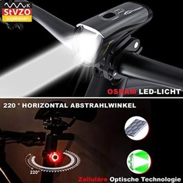 Toptrek Fahrradlicht StVZO Zugelassen, LED Fahrradbeleuchtung Set akku USB Wiederaufladbare OSRAM LED-Licht, umschaltbar zwischen 50/30 Lux, Frontlicht & Rücklicht IPX4 Wasserdicht Fahrradlampe (LF12) - 4