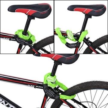 toptrek Fahrradschloss mit Zahlen 5-Stelligem Zahlenschloss Fahrrad Stahlkettenglieder 6 mm x 900 mm Kettenschloss mit Zahlenkombination Fahrradschloß Fahrrad Schloss (Grün) - 6