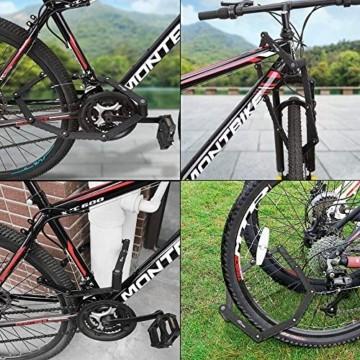 toptrek Faltschloss mit Halterung Fahrradschloss Schlüssel Lang 94cm 8 Gelenken Fahrradschloß Sicherheitsstufe Level 7 Fahrrad Faltschloß für Mountainbike/Rennrad/BMX/MTB (Schwarz) - 3