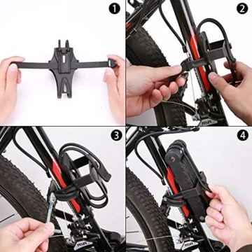toptrek Faltschloss mit Halterung Fahrradschloss Schlüssel Lang 94cm 8 Gelenken Fahrradschloß Sicherheitsstufe Level 7 Fahrrad Faltschloß für Mountainbike/Rennrad/BMX/MTB (Schwarz) - 4