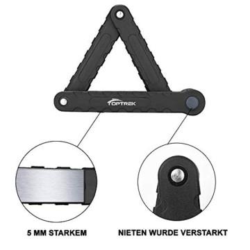 toptrek Faltschloss mit Halterung Fahrradschloss Schlüssel Lang 94cm 8 Gelenken Fahrradschloß Sicherheitsstufe Level 7 Fahrrad Faltschloß für Mountainbike/Rennrad/BMX/MTB (Schwarz) - 6