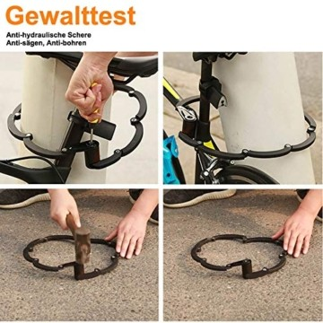 toptrek Faltschloss mit Halterung Fahrradschloss Schlüssel Sicherheitsstufe Level 10 Lang 85cm 8 Gelenken Fahrradschloß Fahrrad Faltschloß für Mountainbike/Rennrad/BMX/MTB (Schwarz) - 7