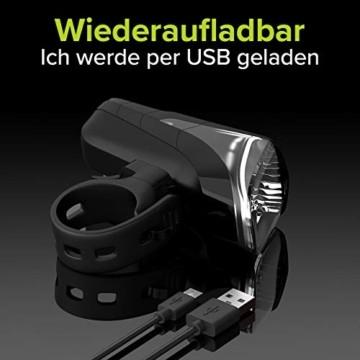 Velmia Fahrradlicht Vorne StVZO zugelassen mit USB Akku-Betrieb und 8,5h Leuchtdauer I LED Fahrrad Licht regenfest und aufladbar I Front Fahrradlampe - 2