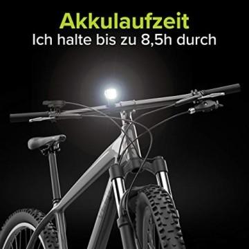 Velmia Fahrradlicht Vorne StVZO zugelassen mit USB Akku-Betrieb und 8,5h Leuchtdauer I LED Fahrrad Licht regenfest und aufladbar I Front Fahrradlampe - 3