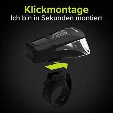 Velmia Fahrradlicht Vorne StVZO zugelassen mit USB Akku-Betrieb und 8,5h Leuchtdauer I LED Fahrrad Licht regenfest und aufladbar I Front Fahrradlampe - 4