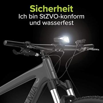 Velmia Fahrradlicht Vorne StVZO zugelassen mit USB Akku-Betrieb und 8,5h Leuchtdauer I LED Fahrrad Licht regenfest und aufladbar I Front Fahrradlampe - 5