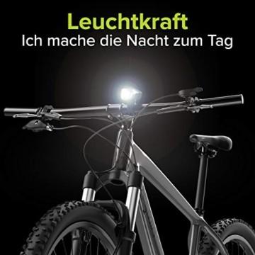 Velmia Fahrradlicht Vorne StVZO zugelassen mit USB Akku-Betrieb und 8,5h Leuchtdauer I LED Fahrrad Licht regenfest und aufladbar I Front Fahrradlampe - 6
