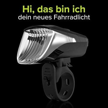 Velmia Fahrradlicht Vorne StVZO zugelassen mit USB Akku-Betrieb und 8,5h Leuchtdauer I LED Fahrrad Licht regenfest und aufladbar I Front Fahrradlampe - 8