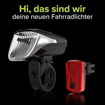 Velmia Fahrradlichter Set StVZO zugelassen mit USB Akku-Betrieb und 8,5h Leuchtdauer I LED Fahrradlicht Set regenfest und aufladbar I Fahrrad Licht - 2