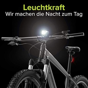Velmia Fahrradlichter Set StVZO zugelassen mit USB Akku-Betrieb und 8,5h Leuchtdauer I LED Fahrradlicht Set regenfest und aufladbar I Fahrrad Licht - 3