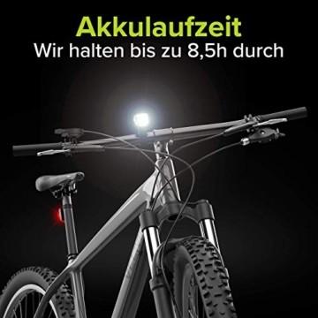 Velmia Fahrradlichter Set StVZO zugelassen mit USB Akku-Betrieb und 8,5h Leuchtdauer I LED Fahrradlicht Set regenfest und aufladbar I Fahrrad Licht - 4