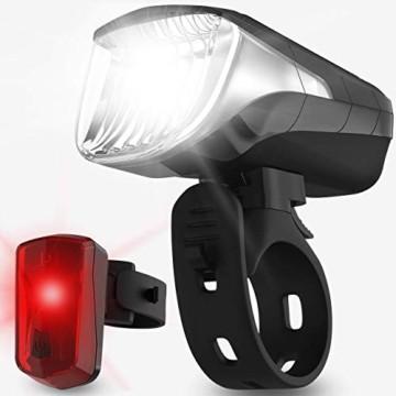 Velmia Fahrradlichter Set StVZO zugelassen mit USB Akku-Betrieb und 8,5h Leuchtdauer I LED Fahrradlicht Set regenfest und aufladbar I Fahrrad Licht - 1