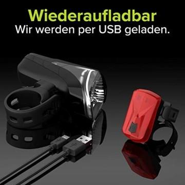 Velmia Fahrradlichter Set StVZO zugelassen mit USB Akku-Betrieb und 8,5h Leuchtdauer I LED Fahrradlicht Set regenfest und aufladbar I Fahrrad Licht - 5
