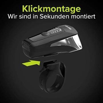 Velmia Fahrradlichter Set StVZO zugelassen mit USB Akku-Betrieb und 8,5h Leuchtdauer I LED Fahrradlicht Set regenfest und aufladbar I Fahrrad Licht - 6