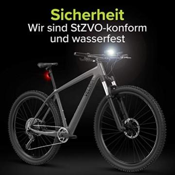 Velmia Fahrradlichter Set StVZO zugelassen mit USB Akku-Betrieb und 8,5h Leuchtdauer I LED Fahrradlicht Set regenfest und aufladbar I Fahrrad Licht - 7