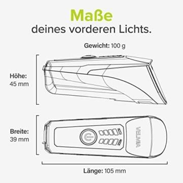 Velmia Fahrradlichter Set StVZO zugelassen mit USB Akku-Betrieb und 8,5h Leuchtdauer I LED Fahrradlicht Set regenfest und aufladbar I Fahrrad Licht - 8