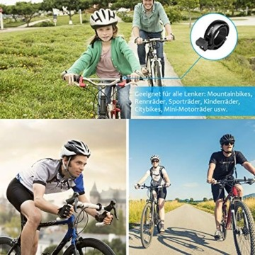 WOTEK Fahrradklingel, Innovative Mini Fahrradglocke Klingel Fahrrad 100dB Klingel laut, Aluminiumlegierung Fhradklingeln O Design Schwarz Fahrradhupe für Bike MTB Mountainbike, 22.2-31.8 mm Lenker - 8