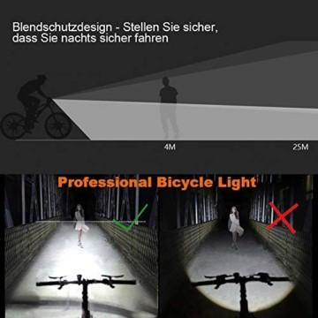 WQJifv LED Fahrradlicht Set, StVZO Zugelassen USB Fahrradbeleuchtung Aufladbar Frontlicht/Rücklicht,Wasserdicht Fahrradlichter Vorne Akku Wiederaufladbar Batterie Licht für Fahrrad - 2