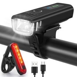WQJifv LED Fahrradlicht Set, StVZO Zugelassen USB Fahrradbeleuchtung Aufladbar Frontlicht/Rücklicht,Wasserdicht Fahrradlichter Vorne Akku Wiederaufladbar Batterie Licht für Fahrrad - 1