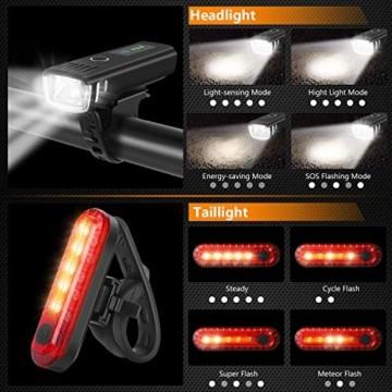 WQJifv LED Fahrradlicht Set, StVZO Zugelassen USB Fahrradbeleuchtung Aufladbar Frontlicht/Rücklicht,Wasserdicht Fahrradlichter Vorne Akku Wiederaufladbar Batterie Licht für Fahrrad - 6