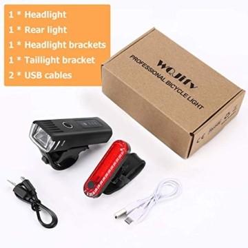 WQJifv LED Fahrradlicht Set, StVZO Zugelassen USB Fahrradbeleuchtung Aufladbar Frontlicht/Rücklicht,Wasserdicht Fahrradlichter Vorne Akku Wiederaufladbar Batterie Licht für Fahrrad - 7