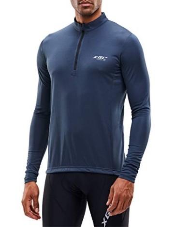 XGC Herren Langarm Radtrikot Fahrradtrikot Radshirt Fahrradshirts Fahrradbekleidung für Männer mit Elastische Atmungsaktive Schnell Trocknen Stoff (Grey, L) - 1