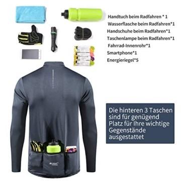 XGC Herren Langarm Radtrikot Fahrradtrikot Radshirt Fahrradshirts Fahrradbekleidung für Männer mit Elastische Atmungsaktive Schnell Trocknen Stoff (Grey, L) - 6