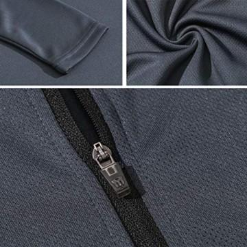 XGC Herren Langarm Radtrikot Fahrradtrikot Radshirt Fahrradshirts Fahrradbekleidung für Männer mit Elastische Atmungsaktive Schnell Trocknen Stoff (Grey, L) - 7