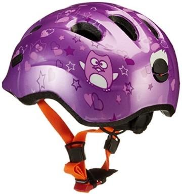 ABUS Smiley 2.0 Kinderhelm - Robuster Fahrradhelm für Mädchen und Jungs - 72569 - Lila mit Eulenmuster, Größe M - 2