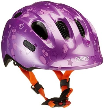 ABUS Smiley 2.0 Kinderhelm - Robuster Fahrradhelm für Mädchen und Jungs - 72569 - Lila mit Eulenmuster, Größe M - 1